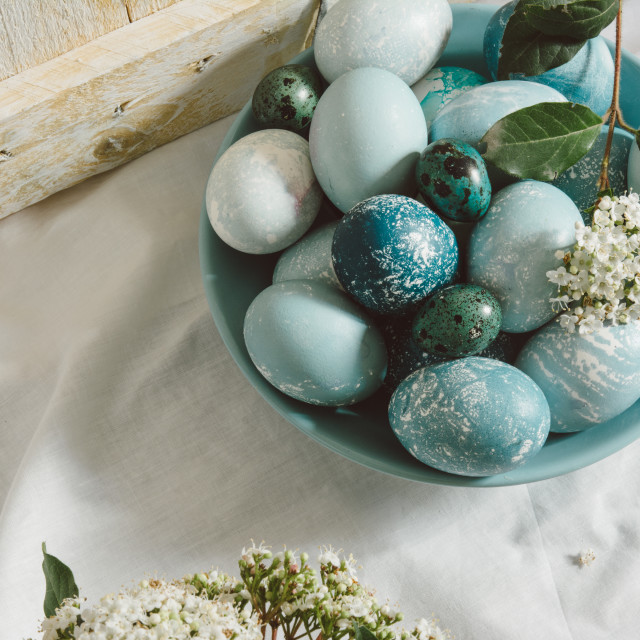 """""""Blue easter eggs on the table. tea time"""" stock image"""