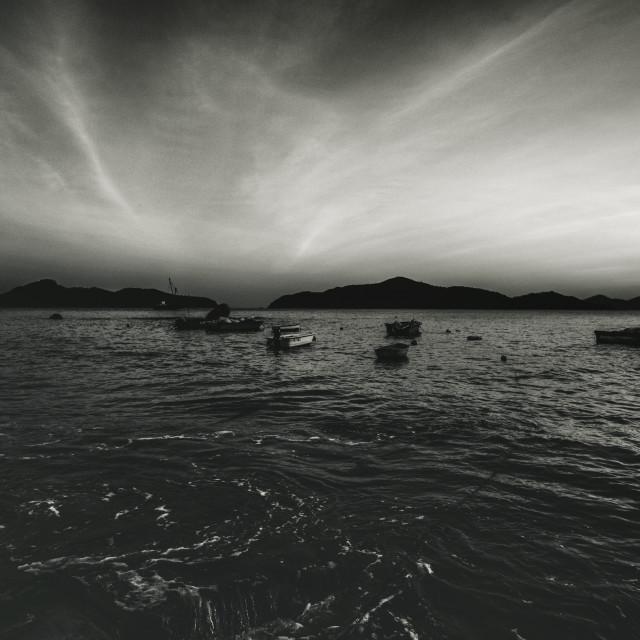 """""""Peng Chau Sunset and Boats"""" stock image"""
