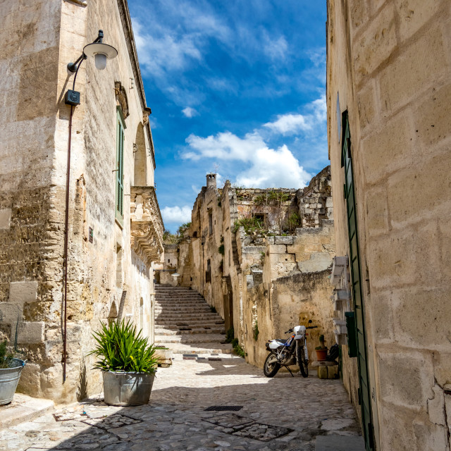 """""""Sunny summer day street view of Matera, Italy"""" stock image"""