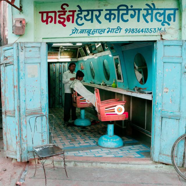 """Hairdresser Indian Street"" stock image"
