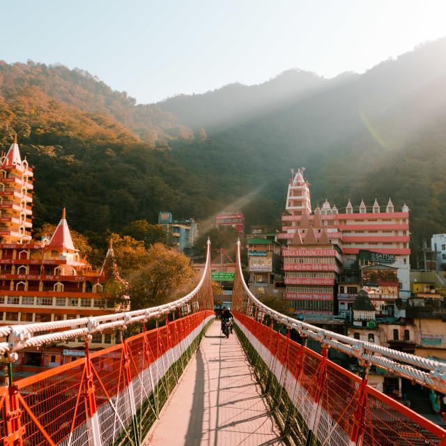 """Laxman Jula bridge Rishikesh"" stock image"