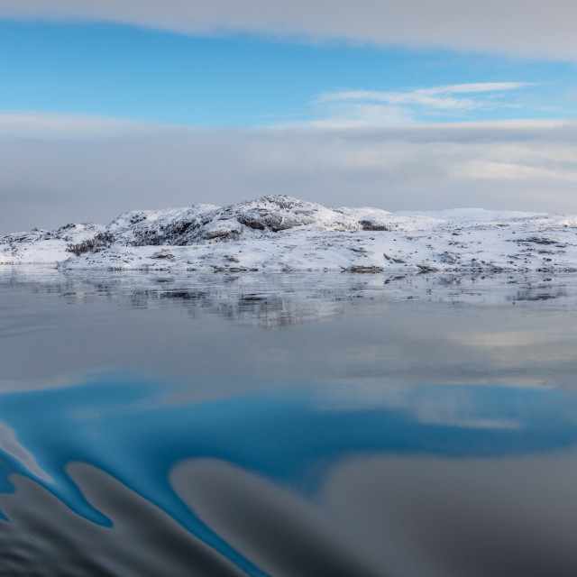"""""""Calm, Icy water in Northern Norway"""" stock image"""