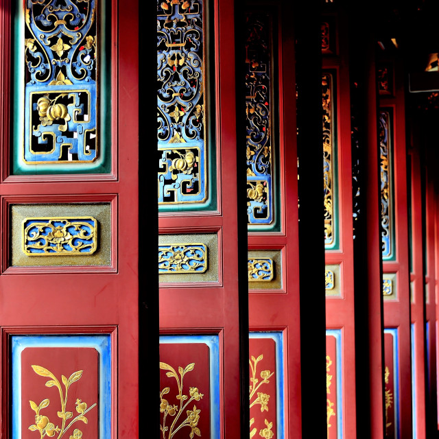 """""""Chinese Temple Doors in Perspective"""" stock image"""