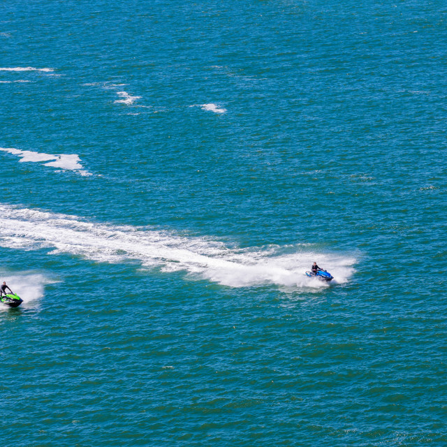 """""""Two Jetskis in the Bay"""" stock image"""