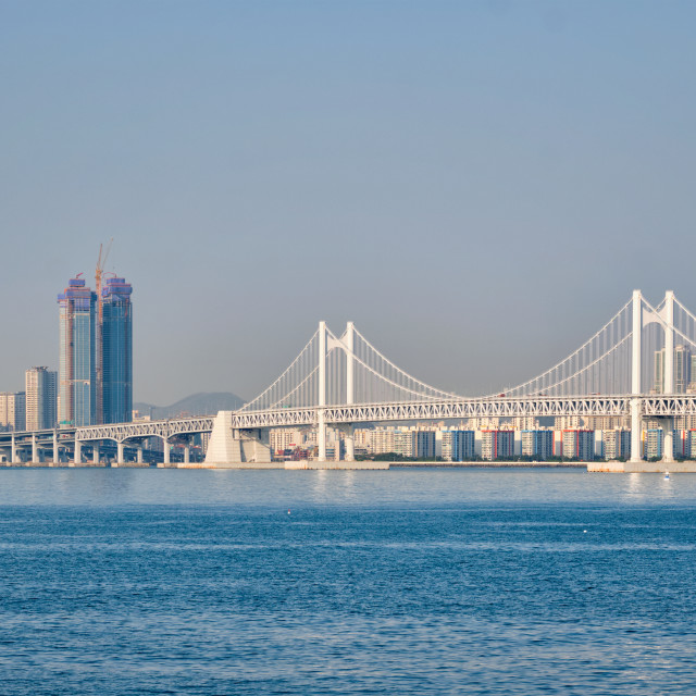 """Gwangan Bridge and skyscrapers in Busan, South Korea"" stock image"