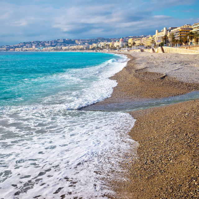 """""""City of Nice Promenade des Anglais waterfront and beach view"""" stock image"""