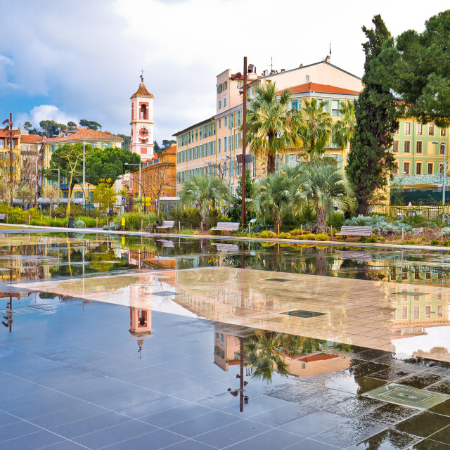 """""""Nice cityscape and park fountain mirror view"""" stock image"""
