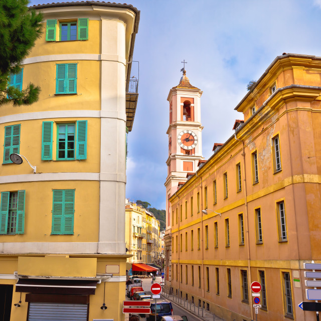 """""""City of Nice colorful street architecture and church view"""" stock image"""