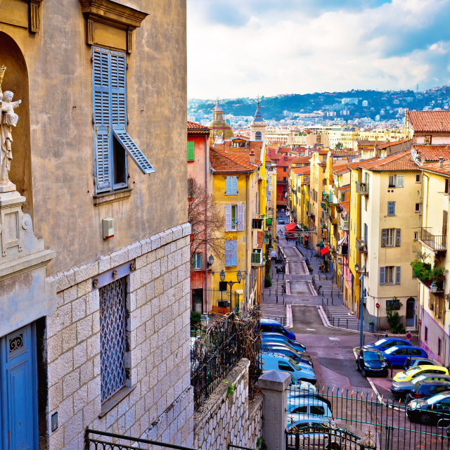 """""""Town of Nice colorful street architecture and church view"""" stock image"""