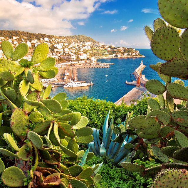 """""""City of Nice colorful waterfront and yachting harbor view through..."""" stock image"""