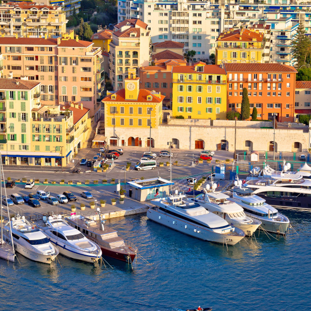 """""""City of Nice colorful waterfront and yachting harbor aerial view"""" stock image"""