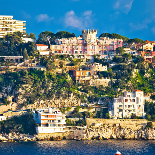 """""""Cap du Nice historic architecture view from sea"""" stock image"""