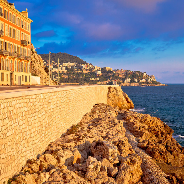"""""""City of Nice waterfront sunset view"""" stock image"""