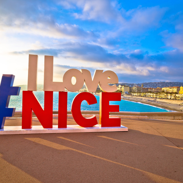 """""""I love Nice tourist sign above Promenade des Anglais in city Of Nice"""" stock image"""