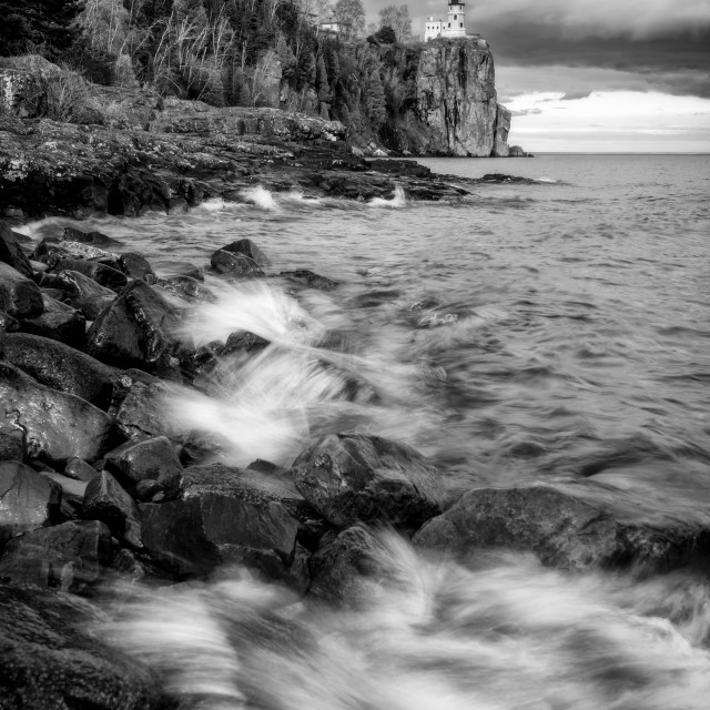 """Split Rock Lighthouse Black and White"" stock image"
