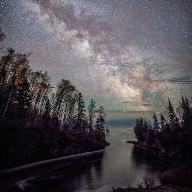 """Milky Way Above Temperance River"" stock image"