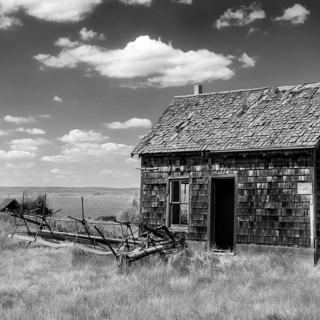"""Saskatchewan Homestead Black and White"" stock image"