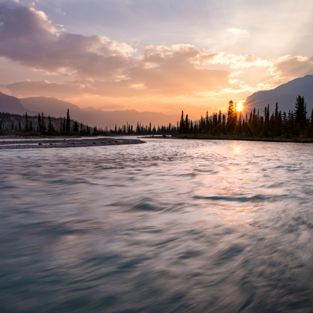 """Saskatchewan River Dawn"" stock image"