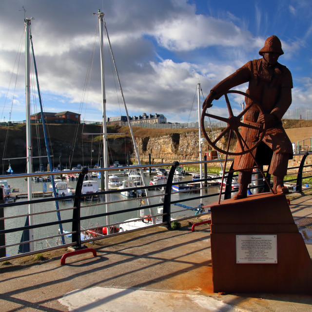 """The Coxswain - Seaham Harbour"" stock image"