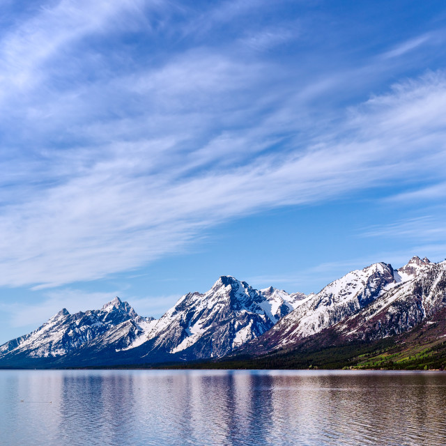 """The Grand Tetons reflecting in Jackson Lake"" stock image"
