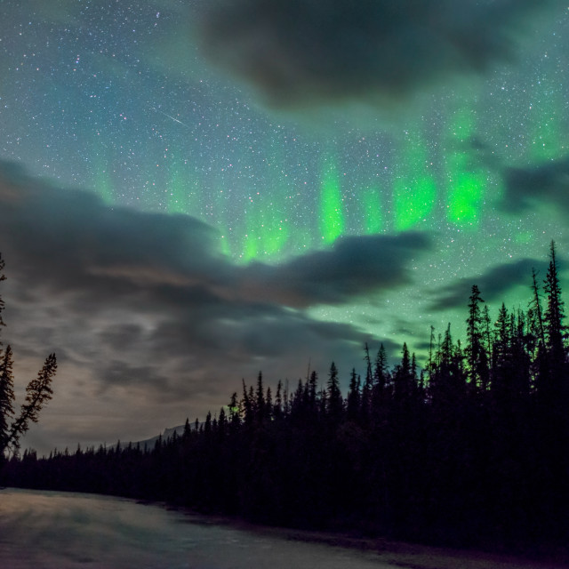 """Northern Lights over Jasper"" stock image"