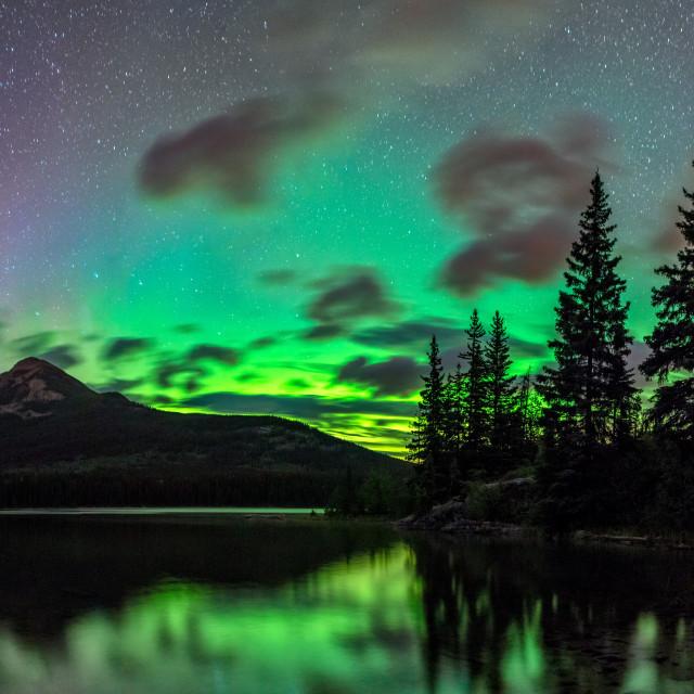 """Pyramid Lake Aurora"" stock image"