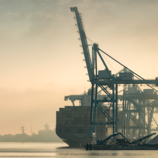 """Norfolk Harbor Fog"" stock image"
