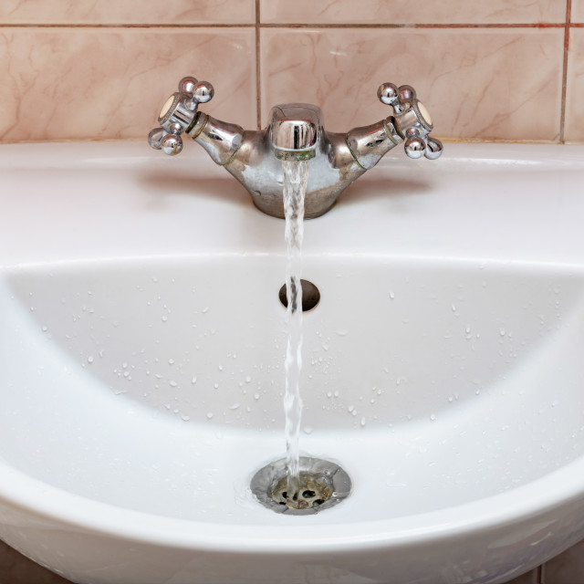 """""""Tap with Water Flowing Strongly"""" stock image"""