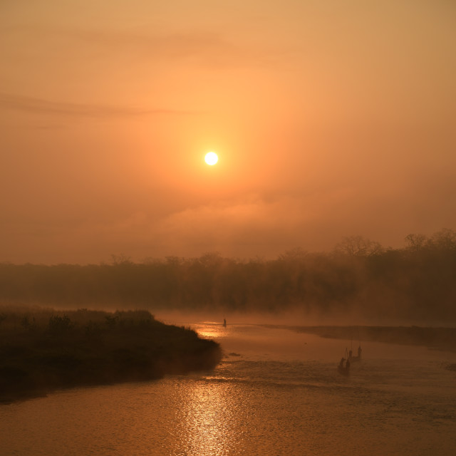 """Sunrise in Chitwan NP"" stock image"