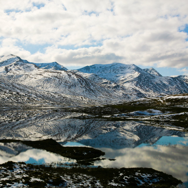 """""""Snowy Hill reflections"""" stock image"""