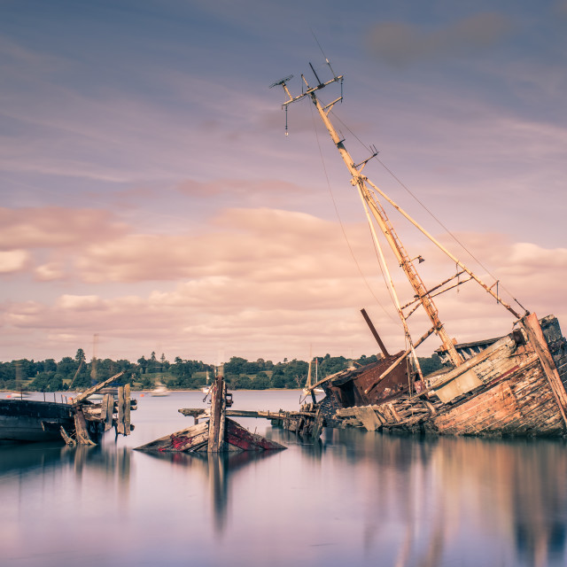 """Pin Mill Boat Graveyard"" stock image"