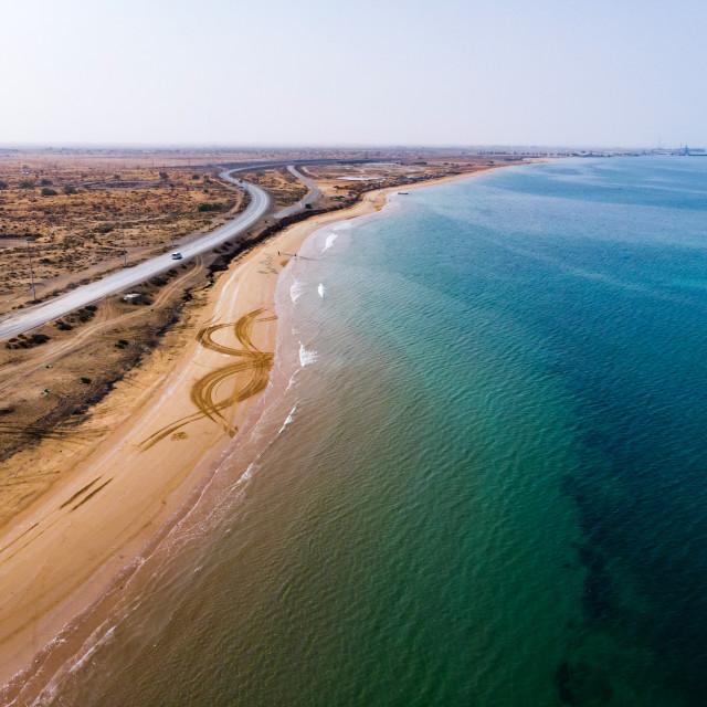 """Desert coast in the UAE aerial view"" stock image"