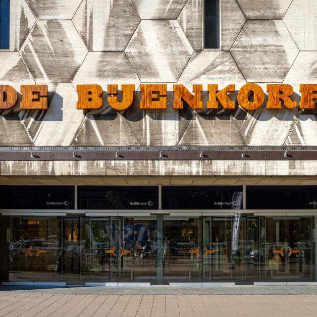 """De Bijenkorf name above the Rotterdam store entrance"" stock image"