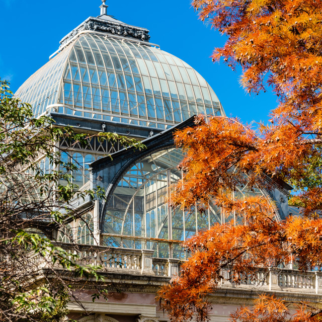 """Exterior view of Crystal Palace of Madrid"" stock image"