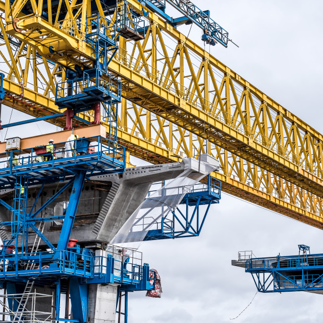 """Construction site of the bridge over Roskilde firth"" stock image"