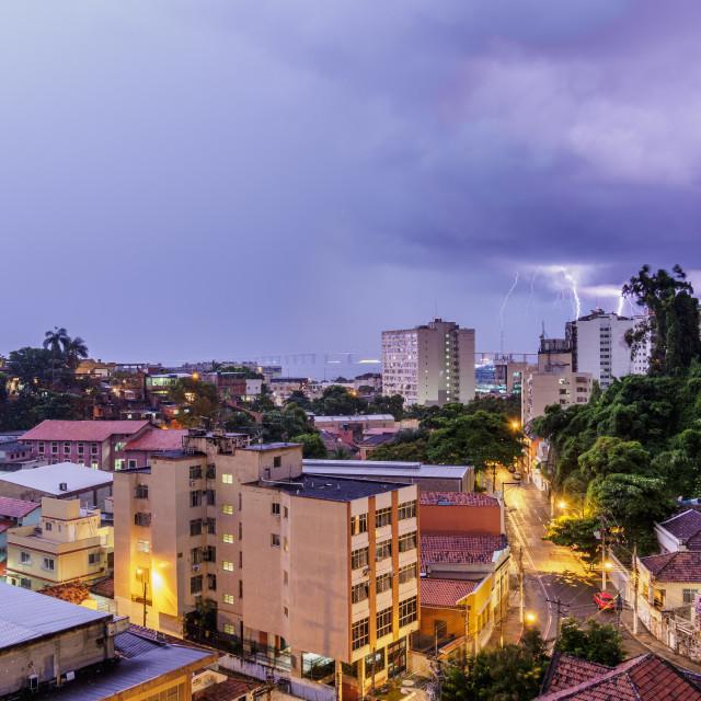 """Thunderstorm over Niteroi, State of Rio de Janeiro, Brazil"" stock image"