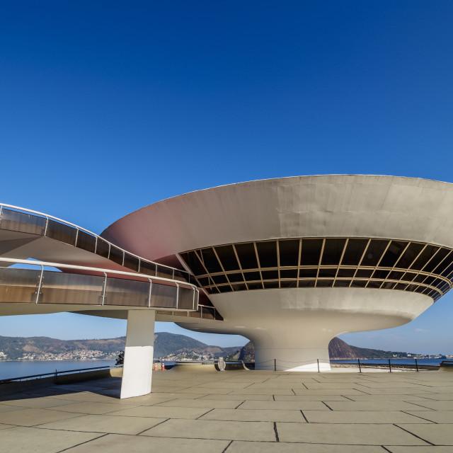 """""""Niteroi Contemporary Art Museum MAC, Niteroi, State of Rio de Janeiro, Brazil"""" stock image"""