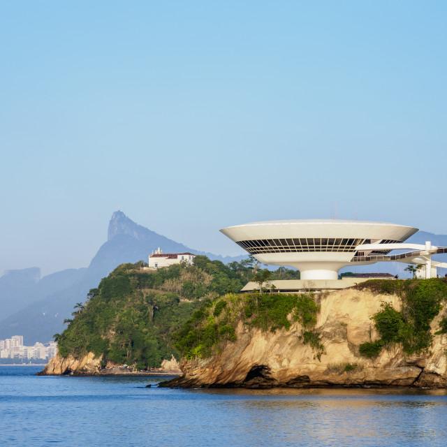 """View towards Niteroi Contemporary Art Museum MAC, Boa Viagem Island,..."" stock image"