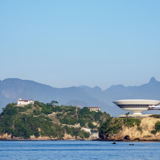 """View towards Niteroi Contemporary Art Museum MAC and Boa Viagem Island,..."" stock image"