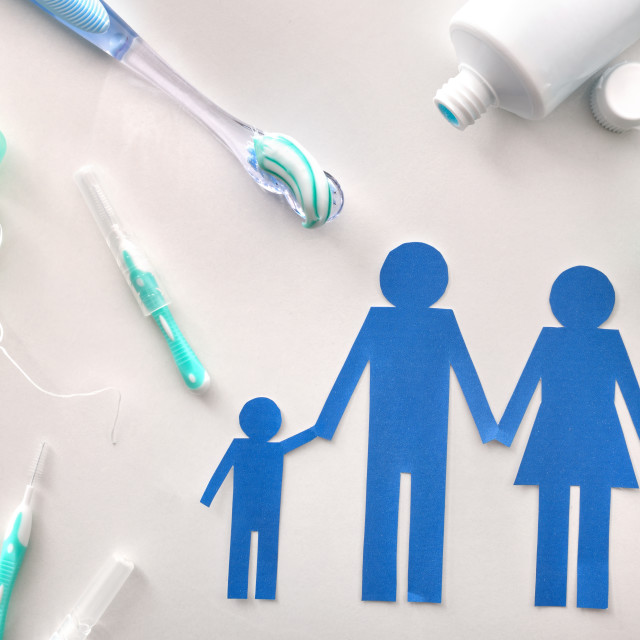 """""""Concept family dental hygiene with tools on white table general"""" stock image"""