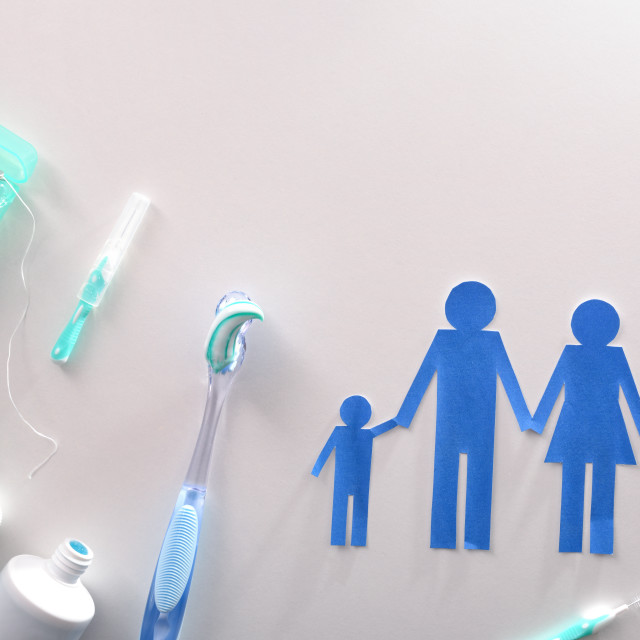 """""""Concept family dental hygiene with tools on white table"""" stock image"""