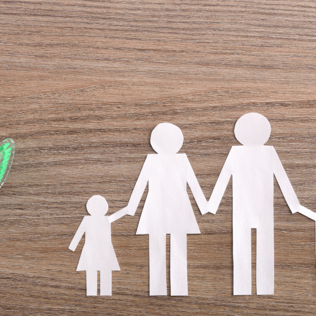 """""""Concept of family dental insurance on wood table top"""" stock image"""