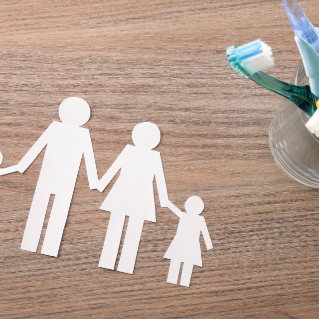 """""""Concept of teeth cleaning at home for family top"""" stock image"""