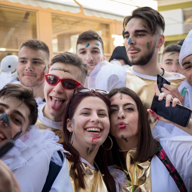 """Greek masquerade festival in Xanthi, moment"" stock image"