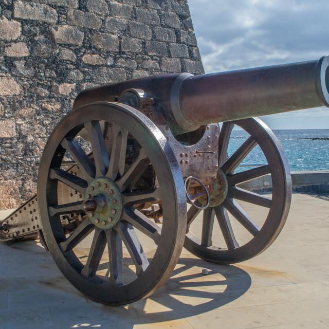 """""""Cannon, Castillo de San Gabriel, Arrecife, Lanzarote"""" stock image"""