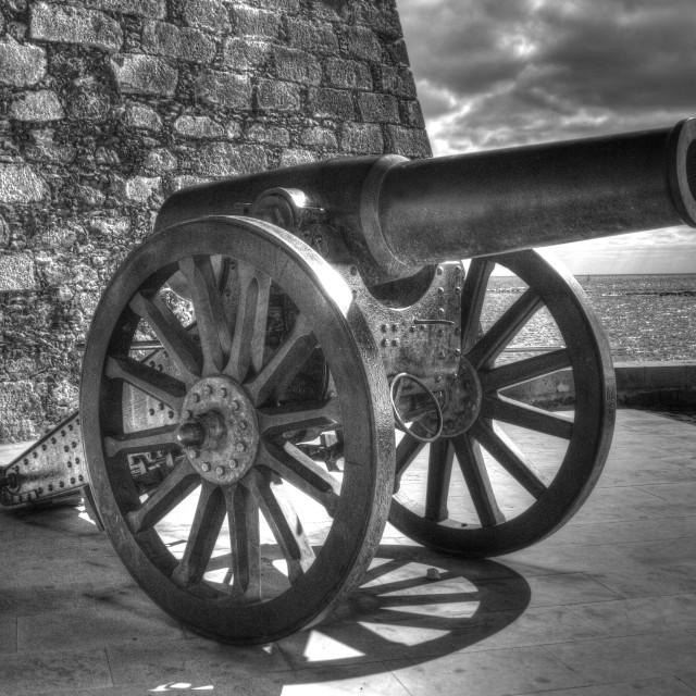 """""""Cannon, Castillo de San Gabriel, Arrecife, Lanzarote, in black and white HDR"""" stock image"""