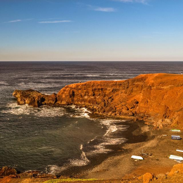 """Lanzarote West Coast seascape"" stock image"