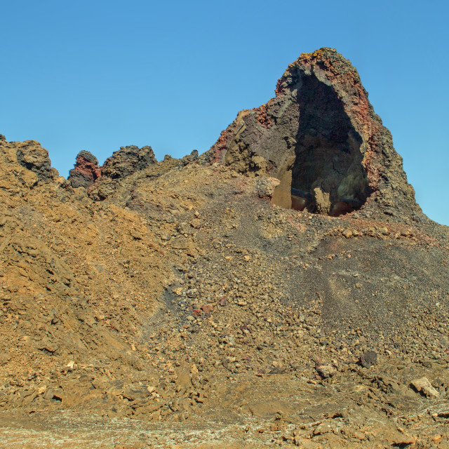 """""""Partly collapsed volcanic vent, Lanzarote"""" stock image"""