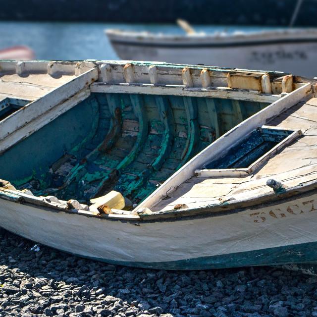 """Seen better days, Arrecife harbour"" stock image"