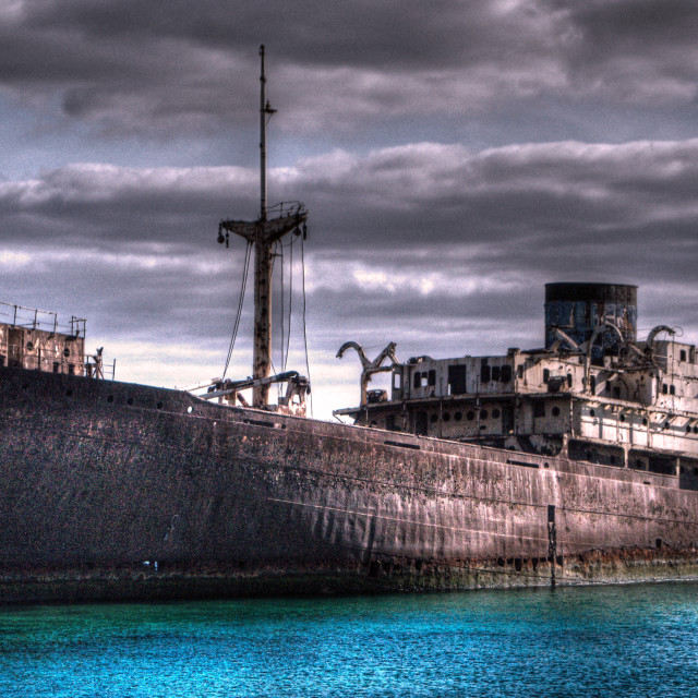 """Temple Hall shipwreck, Arrecife, Lanzarote, in HDR"" stock image"